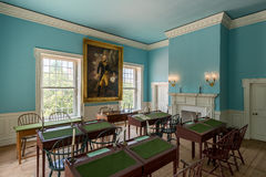 Senate Chamber in Dover. Portrait of George Washington in the Senate Chamber of the Old State House at 25 The Green in Dover, Delaware on July 19, 2015 royalty free stock image