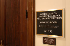 Senate Commerce, Science and Transportation Committee. Washington, DC, USA - July 18, 2017: A sign at the entrance to a Senate Commerce, Science and Royalty Free Stock Image