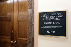 Senate Environment and Public Works Committee. Washington, DC, USA - July 18, 2017: A sign at the entrance to a Senate Environment and Public Works Committee Stock Images