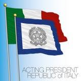 Senate flag, Italy, acting president Stock Images