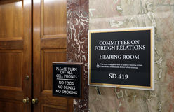 Senate Foreign Relations Committee. Washington, DC, USA - July 18, 2017: A sign at the entrance to a Senate Foreign Relations Committee hearing room. The United Stock Photo