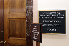 Senate Homeland Security and Governmental Affairs Committee. Washington, DC, USA - July 18, 2017: A sign at the entrance to a Senate Homeland Security and Stock Images