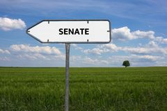 SENATE - image with words associated with the topic IMPEACHMENT, word cloud, cube, letter, image, illustration Royalty Free Stock Image