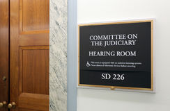 Senate Judiciary Committee. Washington, DC, USA - July 18, 2017: A sign at the entrance to a Senate Judiciary Committee hearing room. The United States Senate is Stock Images