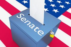 Senate - legislative concept. 3D illustration of Senate script on a ballot box, with US flag as a background Royalty Free Stock Photos