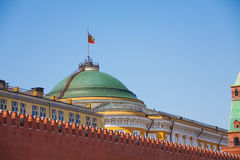 Senate palace with Russian flag in Moscow Kremlin Royalty Free Stock Images