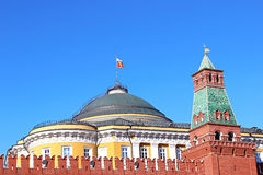Senate Palace and the Senate tower in the Moscow Kremlin. The Senate Palace and the Senate tower in the Moscow Kremlin Royalty Free Stock Photography