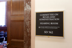 Senate Rules and Administration Committee. Washington, DC, USA - July 18, 2017: A sign at the entrance to a Senate Rules and Administration Committee hearing Royalty Free Stock Image