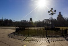 Senate square, Bronze horseman monument and St. Isaac cathedral, bright sun and beautiful shadowsSaint Petersburg, Russia. royalty free stock image