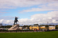 Senate Square and  Bronze Horseman - monument to Peter I in St. Stock Image