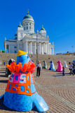 Senate square and the Lutheran Cathedral, in Helsinki Royalty Free Stock Images