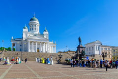 Senate square and the Lutheran Cathedral, in Helsinki Royalty Free Stock Photo
