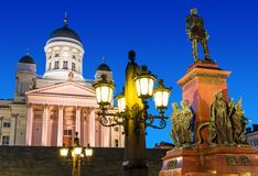 Senate Square at night in Helsinki, Finland Stock Images