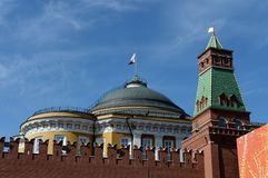 The Senate Tower of the Moscow Kremlin and the dome of the Senate building. Fragment. stock photos