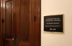 Senate Veterans Affairs Committee. Washington, DC, USA - July 18, 2017: A sign at the entrance to a Senate Veterans Affairs Committee hearing room. The United Royalty Free Stock Images