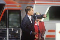 Senator Al Gore on the Clinton/Gore 1992 Buscapade campaign tour in Cleveland, Ohio Stock Image