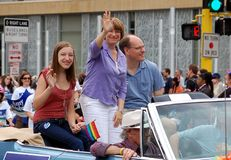 Senator Amy Klobuchar. MINNEAPOLIS - JUNE 26:  United States Senator Amy Klobuchar waves to the crowd at the Twin Cities Gay Pride Parade, on June 26, 2011 in Royalty Free Stock Image