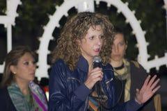 Senator barbara lezzi talking microphone Stock Photography