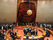 Senator Daniel Akaka gets standing ovation from audience Stock Image