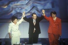 Senator Diane Feinstein und Senator Barbara Boxer an der 2000 demokratischen Versammlung bei Staples Center, Los Angeles, CA Lizenzfreie Stockbilder