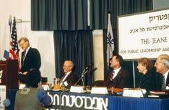 Senator Edward Kennedy przy Jeane Kirkpatrick forum Obraz Stock