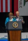 Senator Feinstein und Kalifornien-Gouverneur Jerry Brown an 20. jährlichem Lake- Tahoegipfel 17 Lizenzfreie Stockfotos