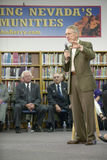 Senator Harry Reid speaking at the Ralph Cadwallader Middle School, Las Vegas, NV Stock Image