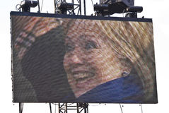 Senator Hillary Clinton. Captured on a Jumbotron soon after Barack Obama took the oath of office stock photo