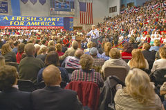 Senator John Kerry addresses audience of supporters at a southern Ohio high school gymnasium in 2004 Stock Photos