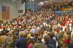 Senator John Kerry addresses audience of supporters at a southern Ohio high school gymnasium in 2004 Stock Images