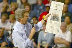 Senator John Kerry addresses audience of supporters at a southern Ohio high school gymnasium in 2004 Stock Photography
