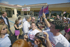 Senator John Kerry on a campaign stop in Baker, California, near Death Valley in August of 2004 on the Believe in America coast to Stock Photography