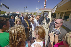 Senator John Kerry on a campaign stop in Baker, California, near Death Valley in August of 2004 on the Believe in America coast to Stock Photos