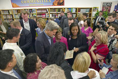 Senator John Kerry interacting with attendees at the Ralph Cadwallader Middle School, Las Vegas, NV Royalty Free Stock Photography