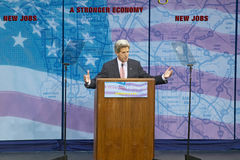 Senator John Kerry at podium of major policy address on the economy, CSU- Dominguez Hills, Los Angeles, CA Stock Photo