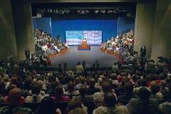Senator John Kerry at podium of major policy address on the economy, CSU- Dominguez Hills, Los Angeles, CA Stock Photography