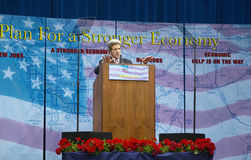 Senator John Kerry at podium of major policy address on the economy, CSU- Dominguez Hills, Los Angeles, CA Stock Photo