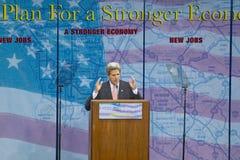 Senator John Kerry at podium of major policy address on the economy, CSU- Dominguez Hills, Los Angeles, CA Royalty Free Stock Photo