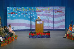 Senator John Kerry at podium of major policy address on the economy, CSU- Dominguez Hills, Los Angeles, CA Royalty Free Stock Image