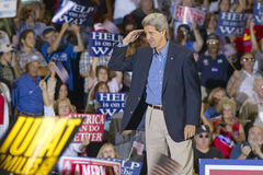 Senator John Kerry salutes to audience of supporters at the Thomas Mack Center at UNLV,  Las Vegas, NV Stock Photo