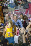 Senator John Kerry shakes hands with child at the Thomas Mack Center at UNLV, Las Vegas, NV Royalty Free Stock Images