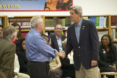 Senator John Kerry shaking hand of an attendee at the Ralph Cadwallader Middle School, Las Vegas, NV Stock Photo