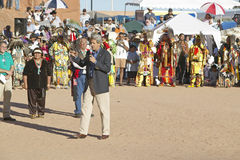 Senator John Kerry speaks from microphone at 83rd Intertribal Indian Ceremony, Gallup, NM Stock Photos