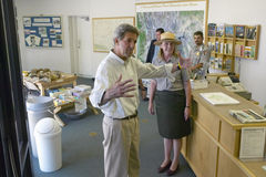 Senator John Kerry visits Mojave National Preserve park office during a campaign stop near Death Valley in 118 degree Baker, Ca Royalty Free Stock Images
