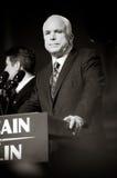 Senator John McCain Vertical B&W. 09/09/08 - Lancaster, PA - John McCain - Presidential Hopeful, Senator John McCain (R-AZ), speaks to a crowd of thousands at a Royalty Free Stock Photos