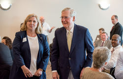 Senator McConnell 003. Elizabethtown, Kentucky – June 30, 2017: Republican Senator Mitch McConnell greets people at fundraiser in Elizabethtown, Kentucky, on stock photo