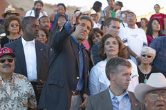 Senator and Mrs. John Kerry standing in audience of 83rd Intertribal Indian Ceremony, Gallup, NM Royalty Free Stock Image