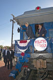 Senator and Mrs. John Kerry waving from back of Whistle Stop Kerry Express across America train, Gallup, NM Stock Images