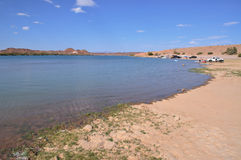 Senator Wash Reservoir Near the Colorado River. This reservoir is in the middle of one of the driest deserts in the United States just north of Yuma, Arizona Stock Image