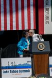 Senators Harry Reid & Feinstein at 20th Annual Lake Tahoe Summit stock images